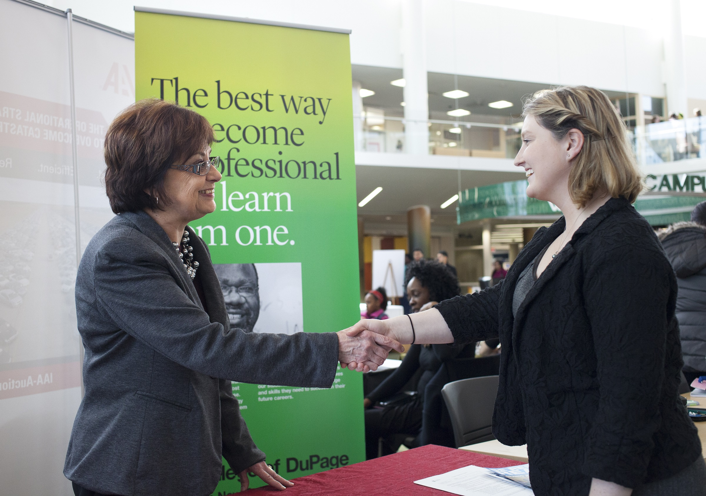 Handshaking at a career fair